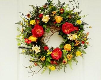 Summer Wreaths, Front Door Wreaths, Year Round Wreaths, Farmhouse Decor, Wreaths for Summer, Floral Wreaths, Everyday Wreaths, Wreaths  W371