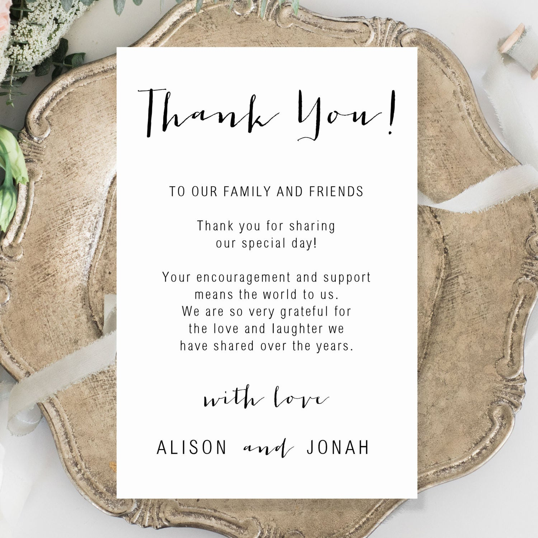 Wedding Thank You Card Template Editable Thank You Card