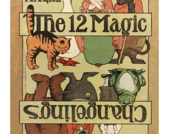"Printable Fantastic early 20th century nursery rhyme paper toys to make book, ""The 12 Changelings"", PDF as Zipfiles"