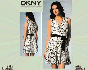 DKNY Wrap Dress with Peplum & Flounce Skirt, Size 6-8-10-12-14, Bust 30-36, Vogue Sewing Pattern 1448