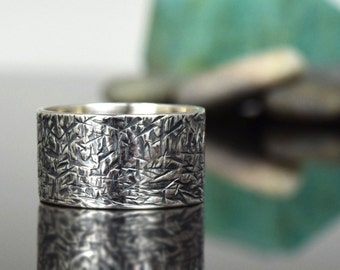 Wide Silver Band - Sterling Silver - hammer textured- oxidized