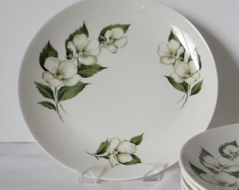Salad Luncheon Plate - White Flower Rhythm by Homer Laughlin - Beautiful Serving Pieces