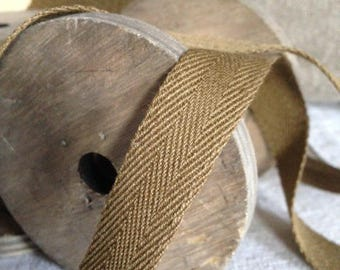 Meter of Ribbon in KHAKI cotton