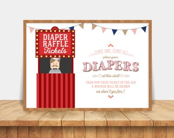 Vintage Circus Printable Diaper Raffle Sign