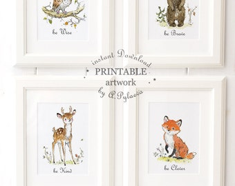 Be Brave Be Clever Be Wise Be Kind Woodland Nursery Set Printable Woodland Nursery Decor  Woodland animals set of 4 Printable Digital Art