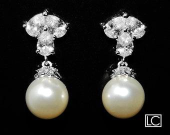 Bridal Ivory Pearl CZ Earrings Swarovski 10mm Pearl Wedding Earrings Pearl Drop Earrings Bridal Ivory Pearl Jewelry Bridesmaid Pearl Jewelry