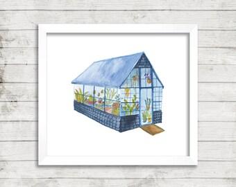 Greenhouse 2 Illustration, Art Print