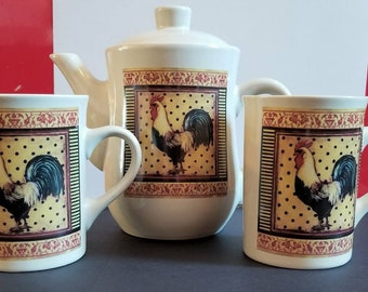 Vintage Coffee Tea Pot and 2 Mugs Bay Island Inc Rooster Design