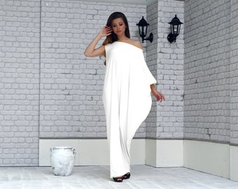 White Maxi Dress, White Kaftan Dress, Plus Size Clothes, Asymmetrical dress, Kaftan Maxi Dress, Plus Size Dress, Oversize Loose Dress