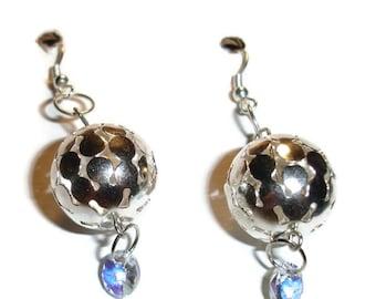 Shiny Orb Crystal Drop earrings