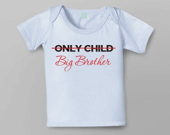 Pregnancy Announcement - Only Child - Big Brother Choose Your Colour Transfer - Iron on PDF for girl or boy sibling sister brother
