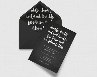 """Double Double Toil and Trouble Halloween Party 5"""" x 7"""" Invitation - Digital or Printed"""