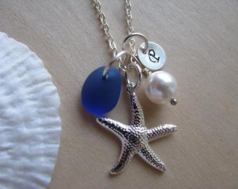 Cobalt Sea Glass Jewelry Initial Starfish Charm Royal Blue Beach Glass Monogram Necklaces Bridesmaids Personalized Beach Wedding
