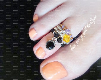 Stacking Toe Ring, Stacking Rings, Antique Onyx Toe Ring, Onyx Ring, Crystal Charm Toe Ring, Stretch Bead Toe Rings