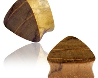 Triangle plug teak wood Brown Expander textured tunnel tribal triangular (No. HPT-325)