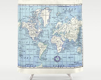 A Really Nice Map Shower Curtain - Historical map - Home Decor - Bathroom - travel decor, blue and white fabric, bathroom, crisp, clean