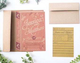 Vintage Romance Book Invitation Set.
