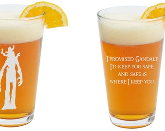 Lord Of The Rings, The Hobbit, Personalized Glass- Themed Pint Glasses-Beer Glass, Dual engraved front and back