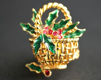 Basket of Holly Ring. Holiday Ring. Christmas Basket Ring. Christmas Ring. Gold Ring. Adjustable Ring. Christmas Jewelry. Handmade Jewelry.