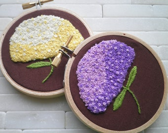 Embroidered Hydrangeas Hoop Art / Wall Hanging Set - Purple & Yellow Hydrangea Embroidery Textile Fiber Art - Floral Ombre Home Decor Gift