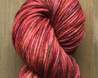 Hand Dyed Yarn, Worsted Weight 4ply, 100% Superwash Merino  Wool, Red Rust on Hearty Worsted Yarn
