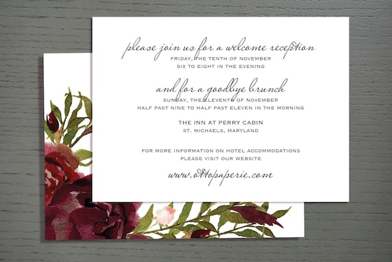 Perry Cabin Wedding Invitation - Information Card