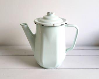 Vintage French farmhouse enamelware coffee / teapot