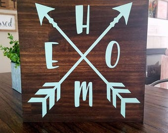 HOME with Arrows Wood Sign