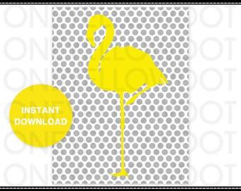 Printable Digital Poster - Flamingo  - JPG