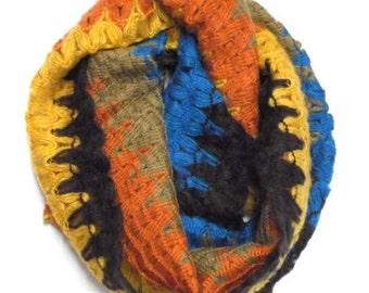 Boho Scarf, Chevon Infinity Scarf, Crochet Cowl Scarf, Colorful Loop Scarf for Spring, Multicolor Scarf, ,Bohemian Scarf