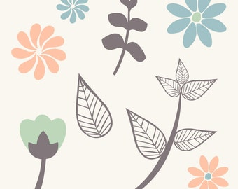 Instant Download Flowers and Leaves Digital Collage Sheet Clip Art Wedding