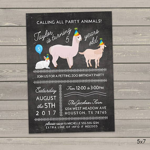 petting zoo birthday invitations party animals any age