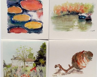 Pack of 4 different greeting cards