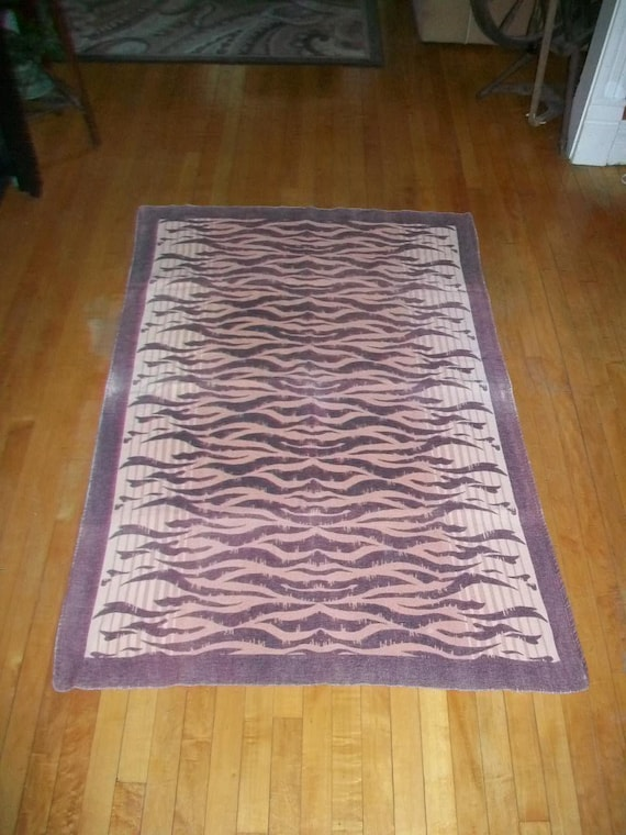 Vintage Wool Blanket Throw Brown and Cream Striped 1940s