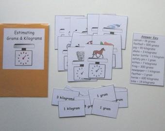 Teacher Made Math Center Resource Measurement Units Estimating Grams & Kilograms