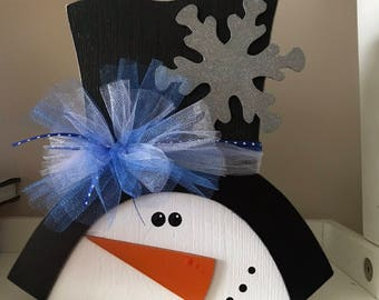 Wooden Snowman with Top Hat