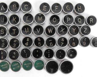 Typewriter Key Flat Back Vintage Antique Underwood Your Choice ref011
