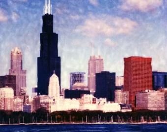Color Chicago Skyline SX-70 Manipulation - 8x8 Fine Art Photograph