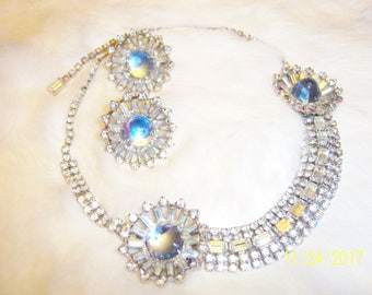 Vintage Stunning and Lavish Baby Blue and Clear Crystal Necklace and Earrings/Demi-Parure