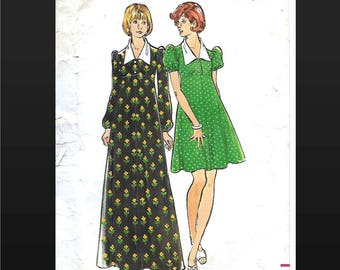 Butterick 3598 70s Empire Waist Maternity Dress Size 10 Bust 32.5 Mini Above Knee Maxi Ankle Length Large Collar Flared Zipper Cut Modest