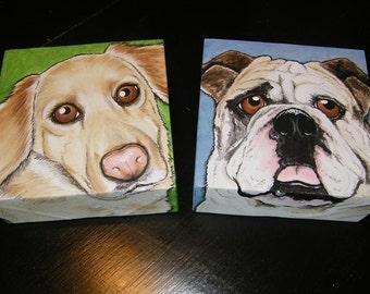 Two Custom Pet Portrait Paintings 6x6 hand painted dog, cat, kitten, puppy, pet love gift, pet memorial