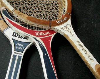 3 Vintage Wood Tennis Raquets Rackets | Instant Collection Set | Wilson Chris Evert Lady Advantage | Wall Decor | Summer Cottage | She Shed