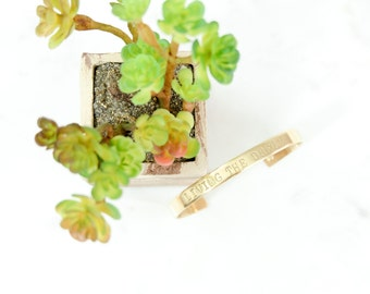 LIVING the DREAM Hand Stamped Metal Brass Cuff Bracelet