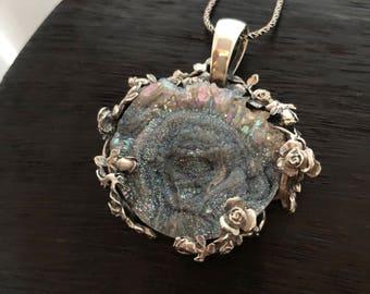 Rainbow Druzy Pendant, Unique Artisan Pendant, Gift for her, Anniversary  Gift
