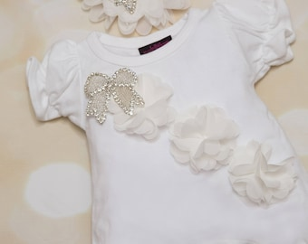 White Bubble Baby Girl Romper Cotton Baby Romper with Ribbon Chiffon Trim Comes with Matching Headband