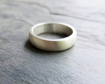 6mm Wide Heavy Sterling Silver Wedding Band, High Dome Wedding Ring - Thick Half Round Classic Band in Matte, Polished, or Hammered Finish