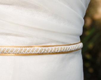 Thin Gold Wedding Sash, Gold and Pearl Wedding Sash, Gold Belt, Gold Bridal Sash- CHRISTINA