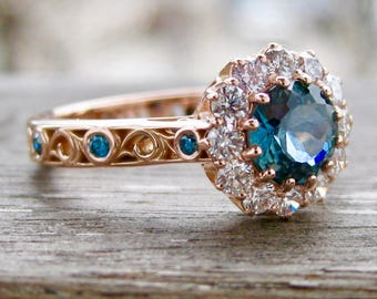 Steel Blue Montana Sapphire Engagement Ring with White & Blue Diamonds in 14K Rose Gold Vintage Style Scroll Setting Size 5