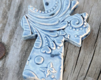 Pottery Cross PENDANT Bead in Waterfall Blue with a Spring Pattern