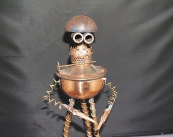 Steampunk Copper Robot Note Holder